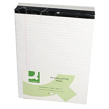 Bloc de notas Q Connect KF01386 10 unidades A4, papel pautado con margen blanco