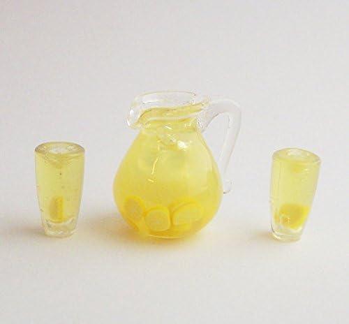 DOLLHOUSE Miniatures 1:12 Scale Miniature Pitcher Pink Lemonade w//4 Glasses