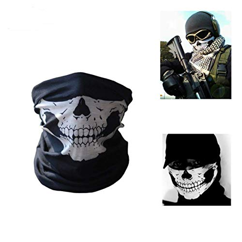 Men's Skull Face Mask, Biker Multifunctional Head Scarf, Balaclava Costume Halloween Cosplay COD, Magic Scarf, Sweatband for Fishing, Yoga, Motorcycling Black