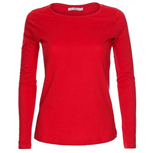 Camiseta de manga larga para mujer, cuello redondo, diseño liso Rojo