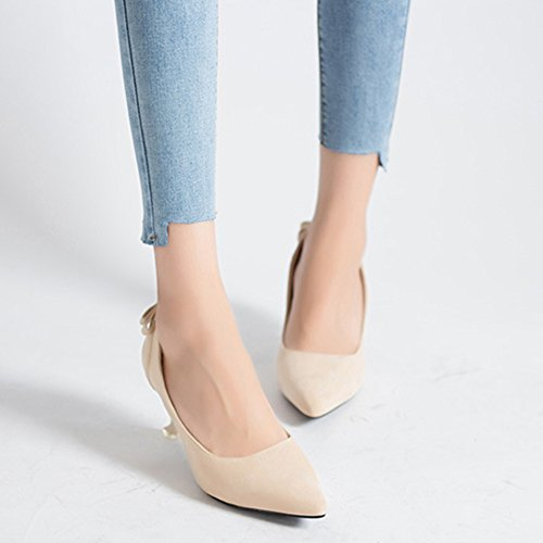 Kitten Women Suede Court Bridal Prom Ladies Beige Shoes Party Wedding Heels Shoes On Pointed Slip Toe wRqtrRa