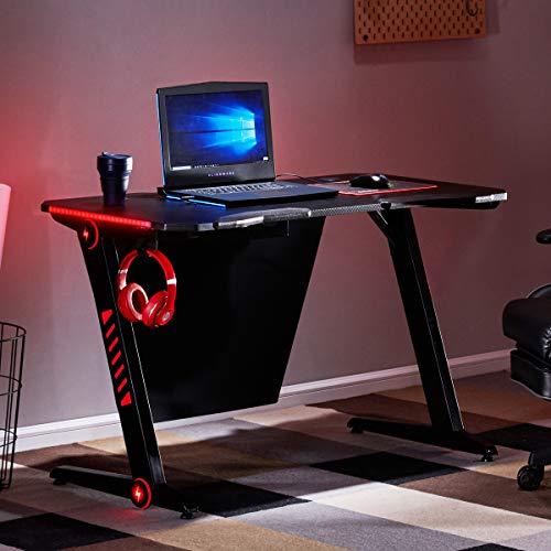 Merax Gaming Computer Desk LED Lights Z-Shaped