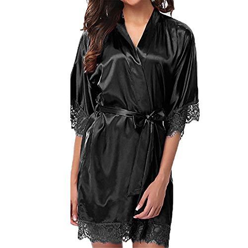 T T Store Sexy Bath Kimono Robe Sleepwear Bridesmaid Lace Lingerie Night Robes Mini Dressing Bathrobe Satin Robe Peignoir(Black,S)