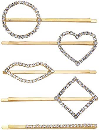 5 Pcs Geometric Rhinestone Hair Pins Minimalist Dainty Heart Round Metal Hair Clips 5 Different Styles Gold Bobby Pins for Women Ladies Wedding Party Daily Hair Accessories