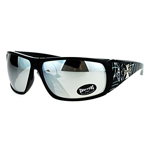 (Choppers Sunglasses Mens Wrap Shield Frame Spider Web Black White, Silver Mirror)