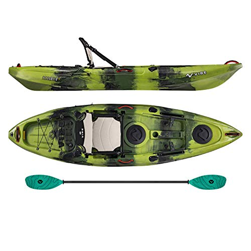 Vibe Kayaks Yellowfin 100 10 Foot Angler Recreational Sit On Top Light Weight Fishing Kayak (Moss Camo) with Paddle and Adjustable Hero Comfort Seat - Caribbean Blue Evolve Paddle