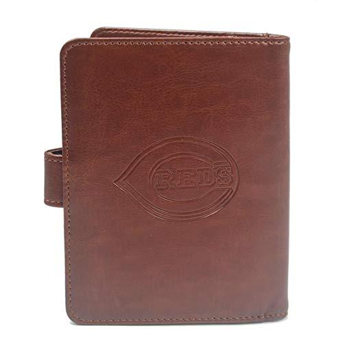 (MLB Brown Passport Holder Case with RFID Blocking for Women & Men - Cincinnati Reds)
