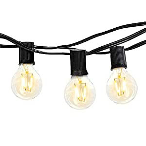 Brightech Ambience PRO Outdoor Globe Light Strand with G40 LED Bulbs – 26 Ft Durable, Weatherproof Vintage Edison Style Outdoor Hanging Lights for Gazebo Patio Garden Porch Backyard Party –Blk