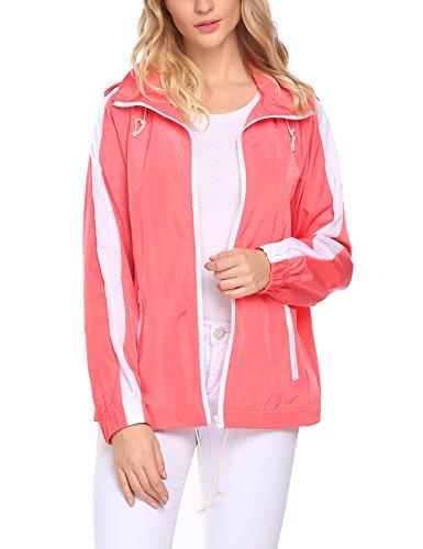 (Venena Women's Hooded Colorblock Full Zip Rain Jacket Waterproof Raincoats Drawstring)