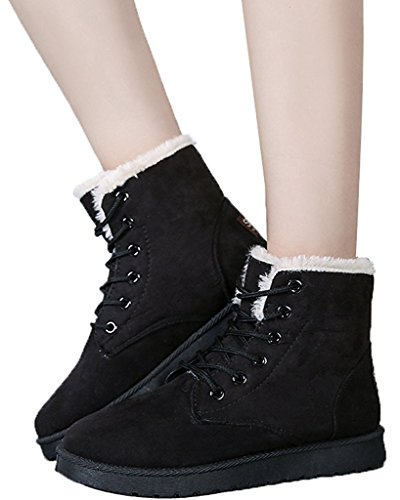 Maybest Dames Suede Platte Platform Sneaker Schoenen Winter Lace Up Snowboots Zwart