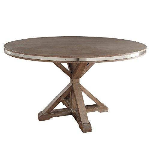 Inspire Q Abbott Rustic Stainless Steel Strap Oak Trestle Dining Table by Artisan Brown Round Table Artisan Oak Rectangular Table