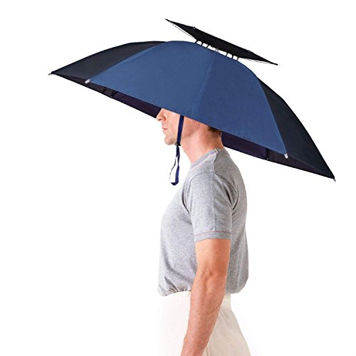 Luwint 36'' Diameter Double Layer Folding Compact UV Wind Protection Umbrella Hat (Blue) ()
