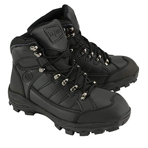 BAZALT-MBM9123ST-Men's Black & Yellow Water & Frost Proof Leather Boots W/Composite Toe-BLK/Yellow (9, Black)