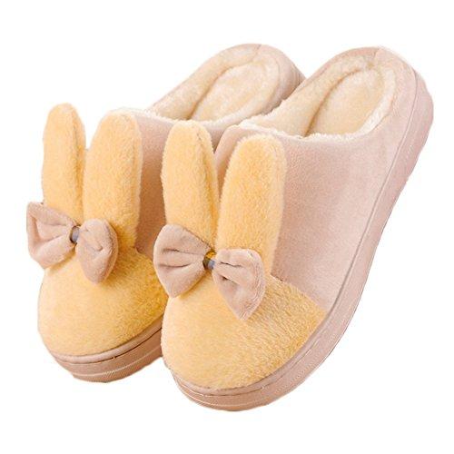 Ciabatta Womens Bella Casa Del Fumetto Pantofole In Cotone Invernale Lavabile Confortevole Suola In Gomma Antiscivolo Giallo