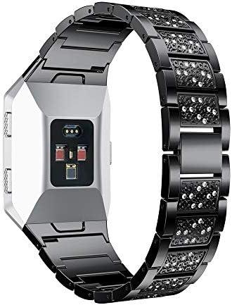 RTYW ダイヤモンドと高級クリスタル合金鋼時計バンドストラップスマートアクセサリーの交換リストバンドスマート腕時計 (Band Color : Sliver, Band Width : For Fitbit Ionic)