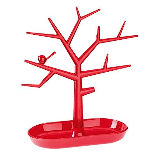 koziol Schmuckbaum [pi:p] M, Kunststoff, transparent rot, 12,8 x 27,3 x 30,6 cm