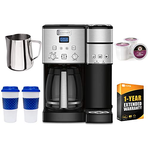 (Cuisinart 12 Cup Coffeemaker and Single Serve Brewer SS-15FR (Renewed) with 1 Year Extended Warranty Bundle)