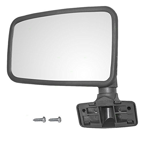 Drivers Manual Side Mirror Hard Door Mounted Textured Replacement for Jeep SUV Pickup Truck 55027207 (Drivers Mirror Manual Door Mounted)