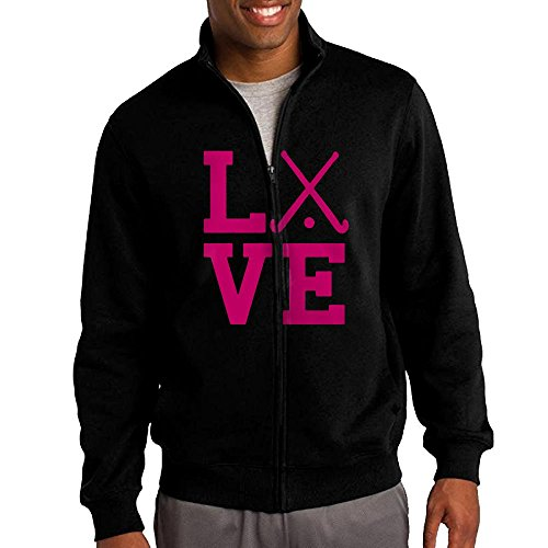 Love Field Hockey Team Hoodie For Men Zip Cartoon Long Sleeve Simple Sweatshirt Large (A&r Hockey Neck Guard)