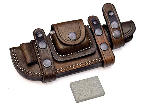 (CFK Cutlery Company Custom Handmade Brown Bushcraft Tracker/Skinner Knife Buffalo Leather Right/Left Hand Horizontal Scout Sheath & Sharpening Stone Set CFK138)