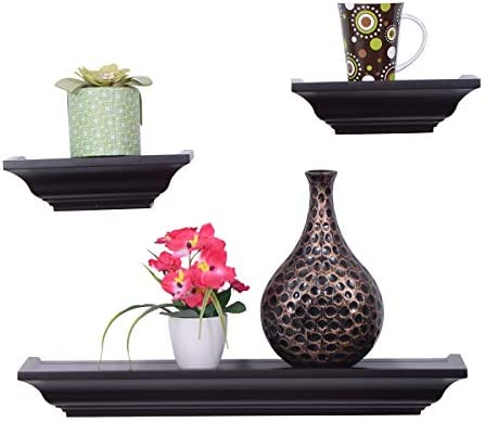 Giantex Set of 3 MDF Floating Wall Mounted Shelves Decoration Mantel Shelf Ledge Brown