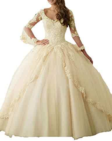 d1ec08b1f8 MonaBridal 2019 Long Sleeve Quinceanera Dresses Tulle Prom Pageant Dress  Long Formal Ball Gown SWT05