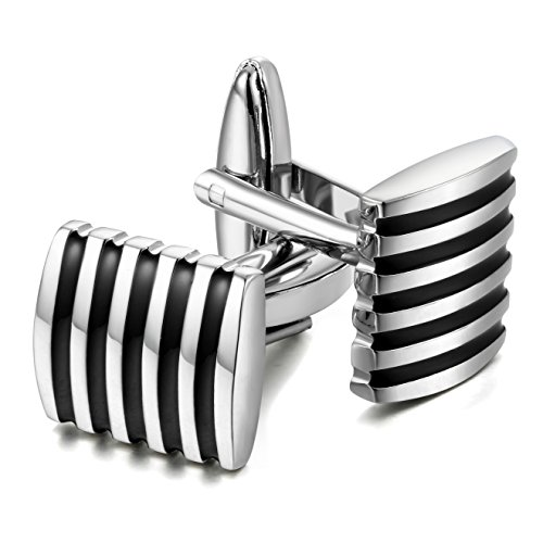 Jstyle+Black+Cufflinks+for+Men+Shirt+Cufflinks+Unique+Business+Wedding
