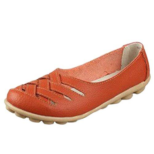 Vogstyle Mujeres Nuevo Cuero Sandalias de Tacón Bajo Zapatos Casual ZY005 Naranja