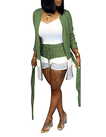 Ophestin Womens Stripe Print Sweater Long Sleeve Open Front Cardigan Coat Short Pants Set 2 Piece Outfits with Belt Green S
