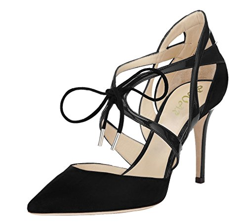 Lace Up Patent Leather Pumps - AOOAR Women's Lace Up Pointed Toe Black Suede&Patent Dress Pumps 9 M US