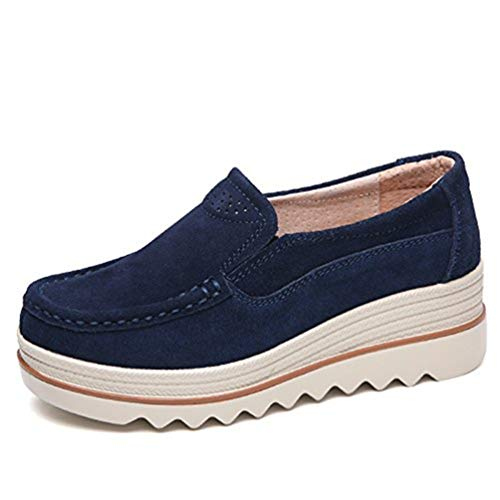 Dhiuow Platform Shoes Women Slip on Loafers Suede Wedge Shoes Comfortable Sneakers for Ladies Deep Blue