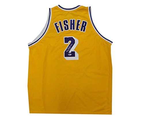 Derick Fisher Hand Signed Autographed Home Lakers Basketball Jersey .04 Beckett
