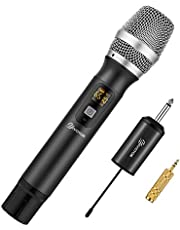 Handheld Wireless Microphone, EIVOTOR 25 Channel Professional Portable UHF Microphone System with Mini Receiver for Karaoke Singing Machine, Home KTV Set, Meeting,Church