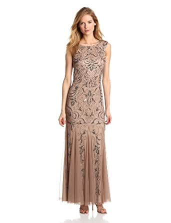 Adrianna Papell Women's Cap Sleeve Elaborately Beaded Gown with Beateau Neckline and Flared Hem, Buff, 16