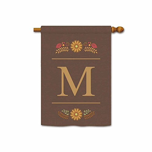 Kafepross Welcome Fall Monogram M House Flag Decorative by Colorful Leaves Custom Your Initial and Name Large Banner 28