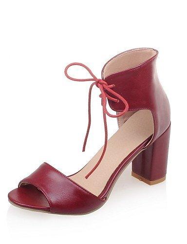 ShangYi Women's Shoes Chunky Heel Heels / Open Toe Sandals Dress Black / Beige / Burgundy Beige SS7hhMeb34