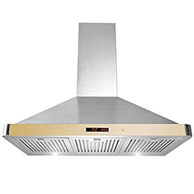 "GOLDEN VANTAGE 36"" Wall Mount Stainless Steel Range Hood Kitchen Vent With Golden Control Panel GV-63190D-GLD"