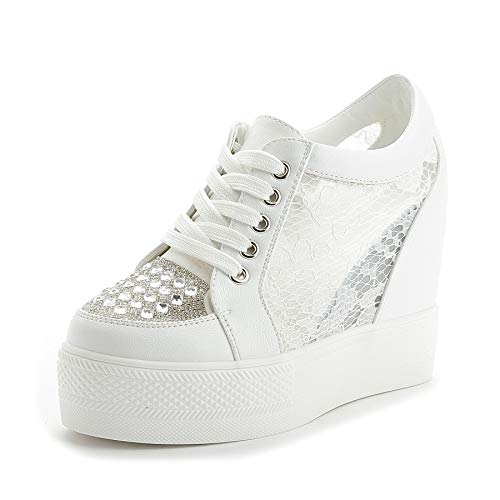 ACE SHOCK Women Summer Wedge Sneakers High Heel Rhinestone Mesh Upper Walking Shoes (5, -