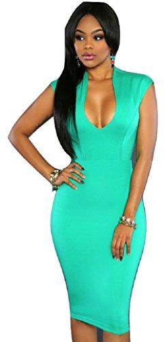 Neue Damen grün Ausschnitt Figurbetont Midi Kleid Club Wear Größe UK ...