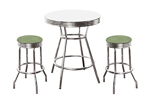 The Furniture Cove Chrome Bar Table & 2 Chrome Celery Green Vinyl Seat Barstools ()