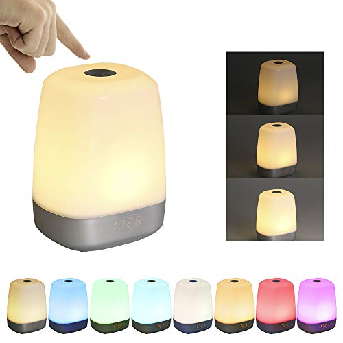 Tomshine Music Wake Up Night Light USB Powered Operated DC5V 3W Sensitive Touch Control Adjustable Brightness Dimmable 3 Levels Warm White Lamp Color Changing LED Display Custom Alarm Time System Buil