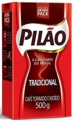 Pilao Coffee Traditional Roast and Ground- Café Torrado e Moído - 17.60oz. (500g)(PACK OF 4) by Pilao