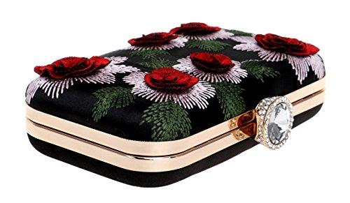 Bandoulière Cadeau Main Pochette Red Sac Nuptiale Sac Sac Femmes Pour Prom à Clubs À Broderie Mariage Dames Vintage Fleurs Soirée À Main ORnqw