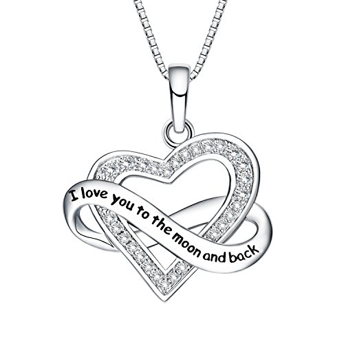 NUMMY I Love You To The Moon And Back Engraved Pendant Necklace for Women (18'' Adjustable) - Silver Crystal Pendant w/Luxury Gift Box Lights Her Face Up w/a Smile (I Love You To The Moon & Back) by NUMMY