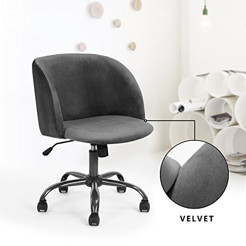 EGGREE Modern Velvet Desk Chair Mid-Back Home Office Task Chair Swivel Executive Chair Armrest Accent Home Office Chair,Grey
