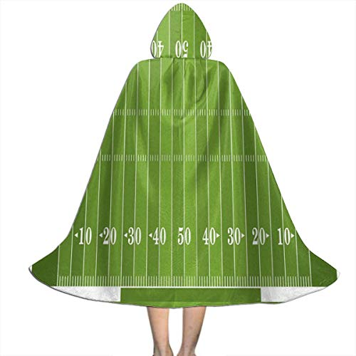 QBahoe Kids Cape Cloak with Hood Football Sports Field Green Yard Games Full Length Halloween Hooded Cloak Christmas Fancy Cape Costumes for Boys Girls (Length Of A Football Field In Yards)