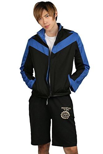 Xcoser Nightwing Jacket Hooded Black & Blue Polyester Costume Mens Clothing M -