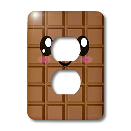3dRose lsp/_57500/_6 Kawaii Happy Milk Chocolate Bar Japanese Style Cartoon Anime Character 2 Plug Outlet Cover Cute Smiley Foods