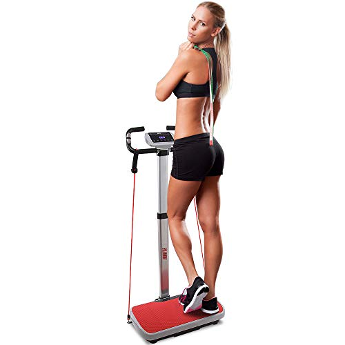 Hurtle Vibration Platform Fitness Machine - Full Body Exercise - Adjustable Time Speed Level w/ 2 Resistance Bands Digital LCD Display Remote Control and Convenient Roller Wheels - ()