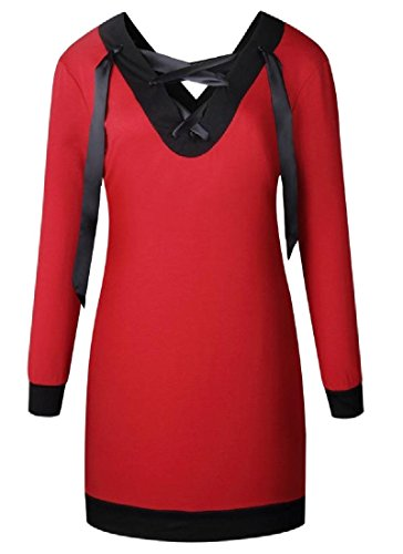 Hip Stylish Women's Comfy Dress Cross Spell V Straps Color Neck Red Package gFx4UqS6